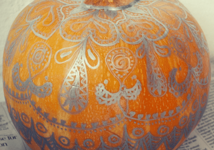 Metallic Sharpie mandala pumpkin thumbnail