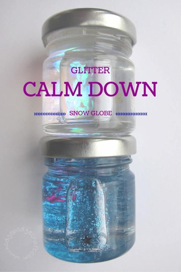 DIY mini glitter calm down snowglobe
