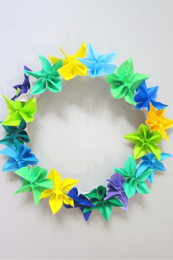 Origami flower wreath