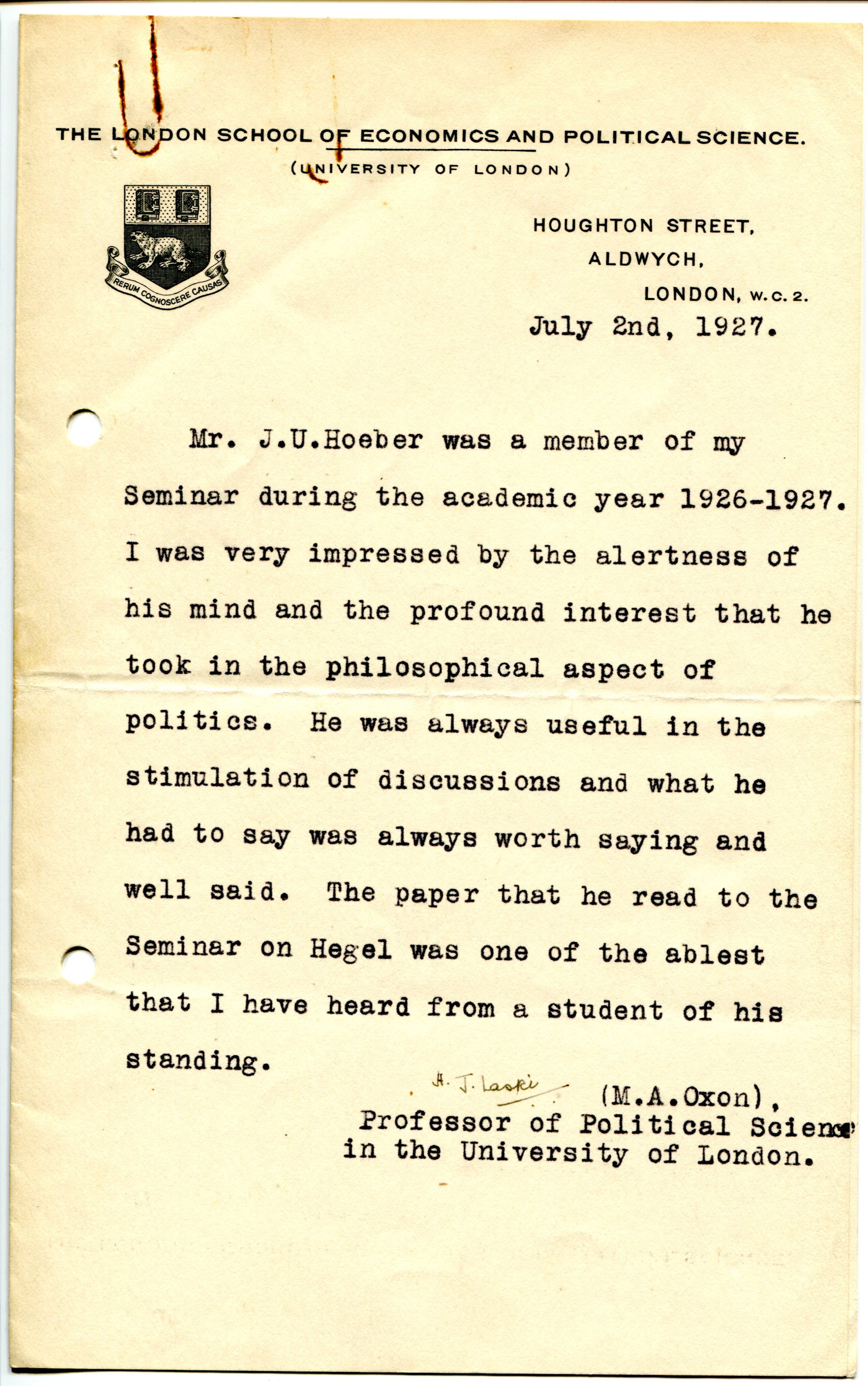 Academic Recommendation Letter Sample Harold Laski Recommendation 2july1927