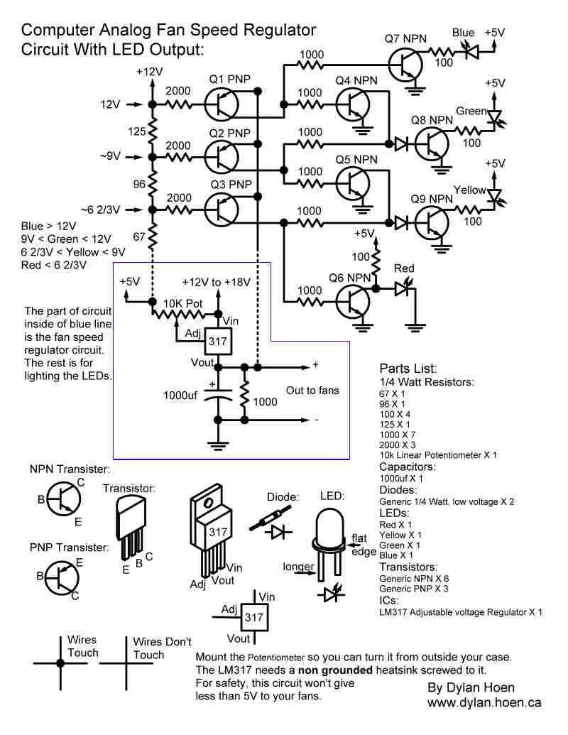 computer analog fan speed control circuit with led output