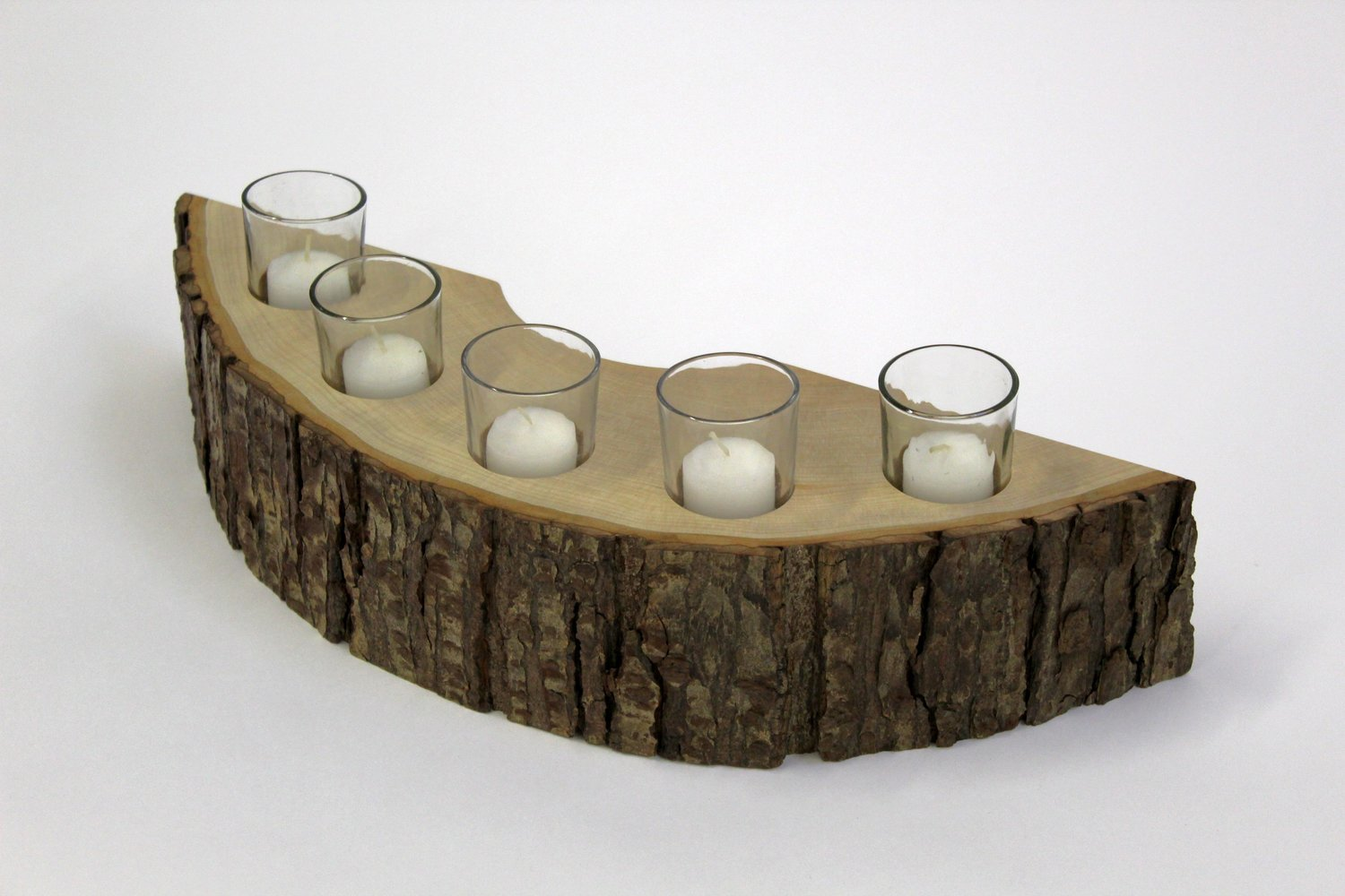 Rustic Wooden Candle Holder 5 Piece Candle Holder