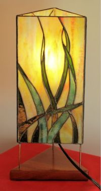 Cat Lamp in Stained Glass - Holli Boyle Stained Glass