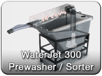 Waterjet golf ball prewash sorter for the commercial golf ball washer
