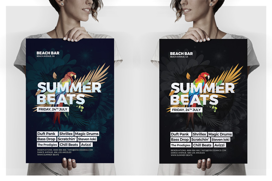 Glam Summer Beats Flyer Template - HollyMolly!
