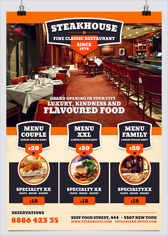 Steakhouse Restaurant Food Promotion Flyer - HollyMolly!