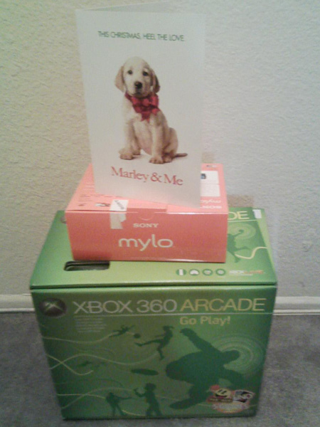 The Sony Mylo I won, snapped this shot of the DEAL gifts I got!