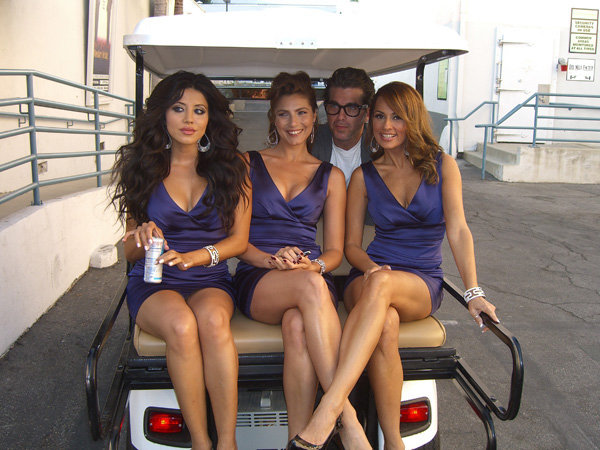 "Photo by: Ron Lynn / DEAL OR NO DEAL models, from left to right: Leyla Milani, Marisa Petroro, and Patrica Kara on the ""Hollywood Center Stage"" lot where GSN's ""Catch 21"" is filmed"