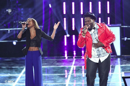 "THE VOICE ""Battle Rounds"" - Pictured: Amanda Brown, Trevin Hunte. Photo by:  Tyler Golden/NBC"