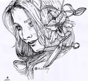 Fille Lys Ciseaux