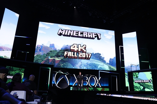 Lydia Winters, Brand Director, Mojang, announces free 4K update to Minecraft at the Xbox E3 2017 Briefing on Sunday, June 11, 2017 in Los Angeles. (Photo by Matt Sayles/Invision for Microsoft/AP Images)