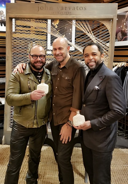 Rodrigo Flores-Roux with John Varvatos and HOMBRE Magazine's Francisco Romeo
