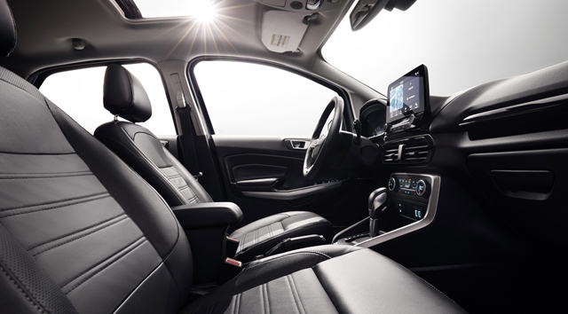 Ford EcoSport Titanium comes standard with premium amenities such as leather seats and a 10-speaker B&O Play audio system that includes B&O-branded tweeters and woofers in the front doors and a subwoofer at the rear.