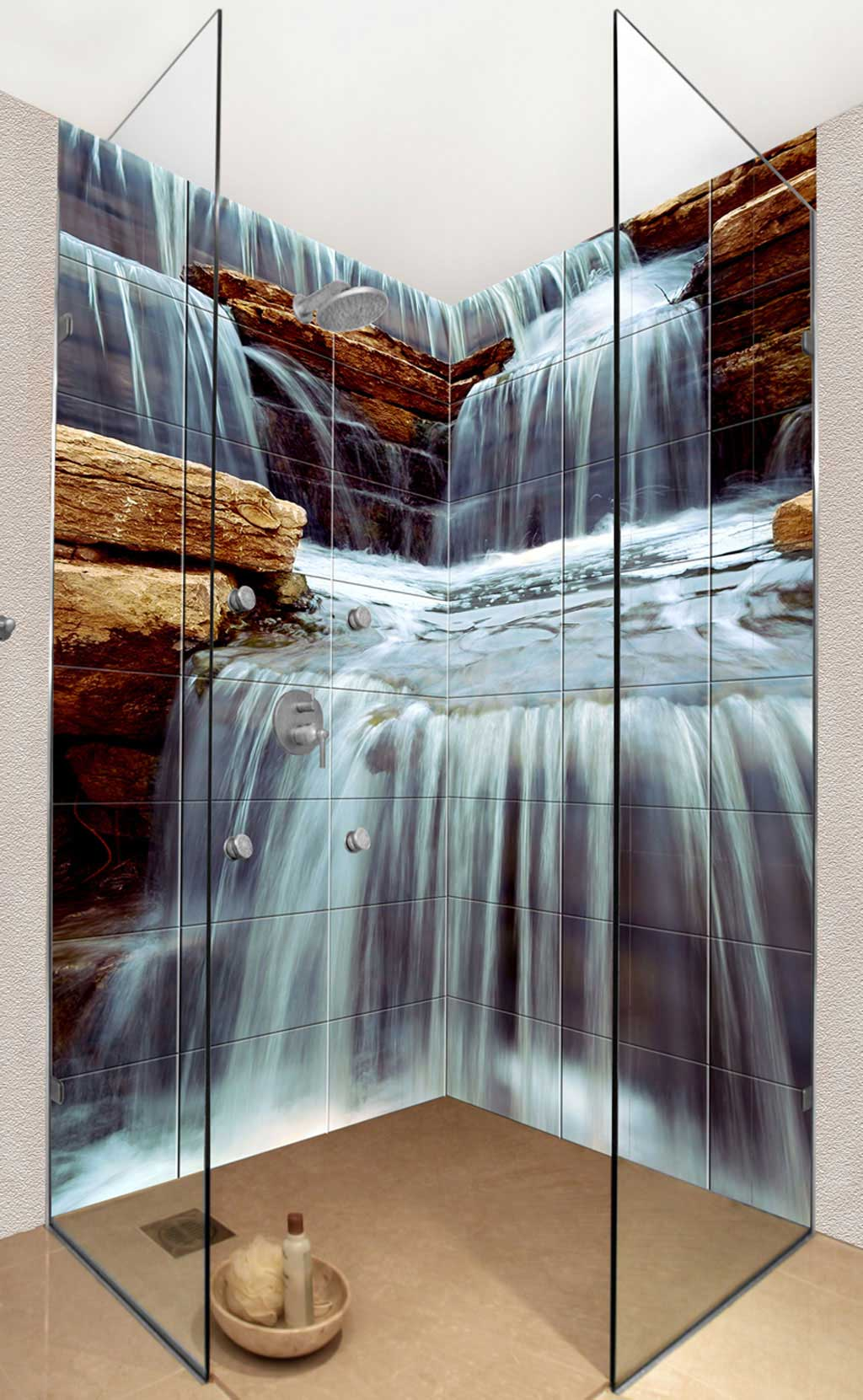 Waterfall Showers Designs Photo Tiles For Kitchens And Bathrooms