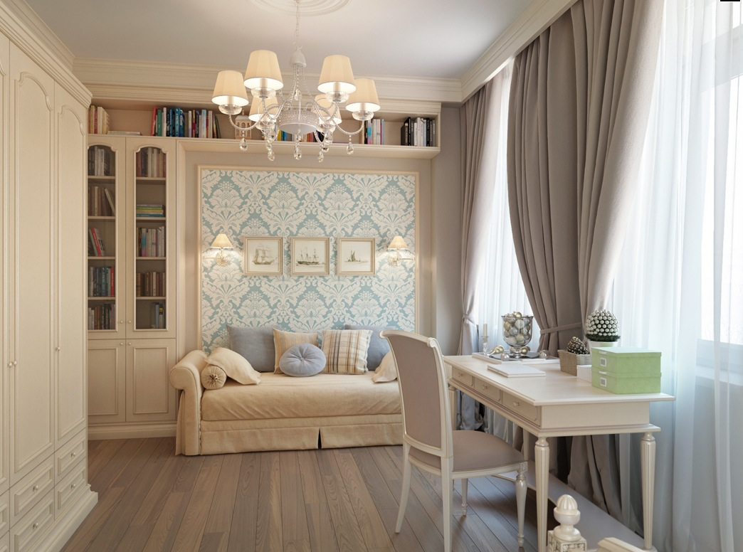 What Color Curtains With Blue Walls Brown Furniture St Petersburg Apartment With A Traditional Twist