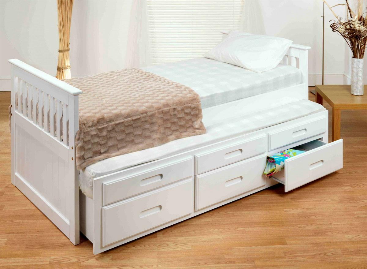 Pull Out Bed Under Bed White Captains Bed With Pull Out Bed Under