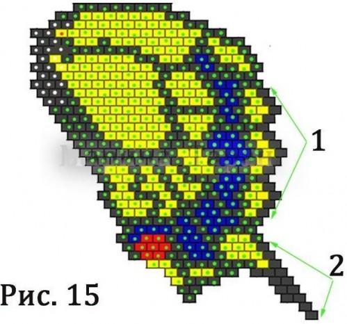 Схема плетения крыла бабочки из бисера
