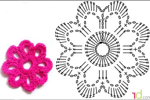 Простой цветок крючком - схема вязания