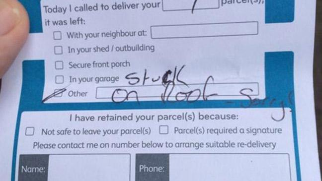 Sorry we missed you, your parcel is on the roof\u0027 - BT