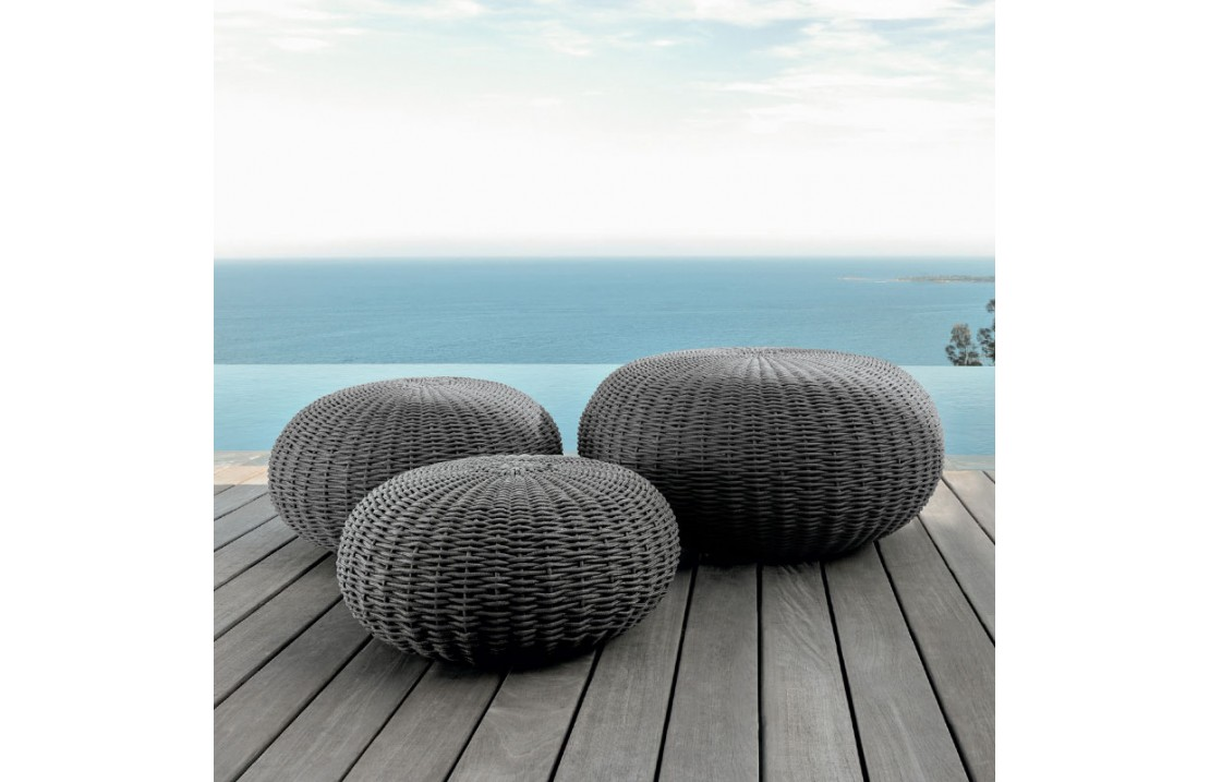 Outdoor Pouf In Hand Woven Rope Jackie