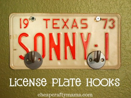 License Plate Coat Hooks