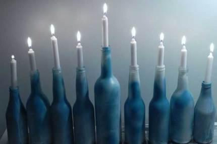 Glass Bottle Menorah