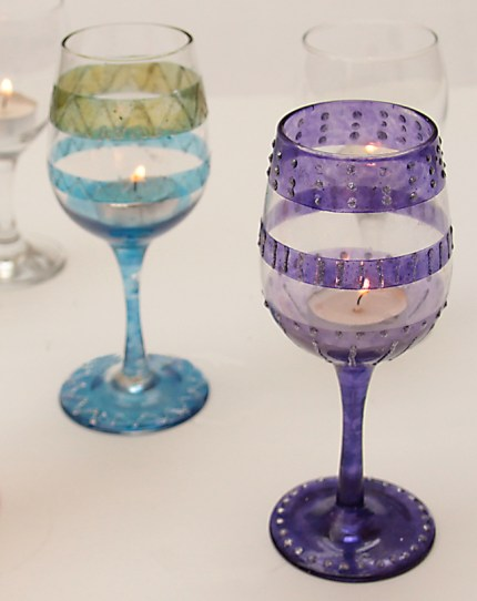 Wine Glass Tea Light Holders for Hanukkah