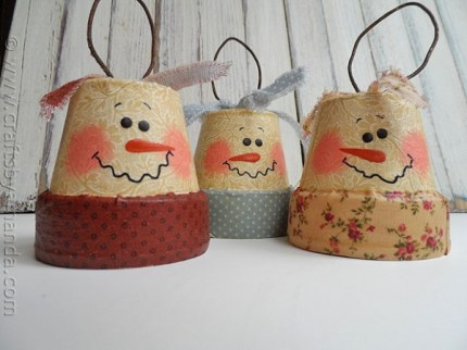 Antique Clay Pot Snowman Ornaments