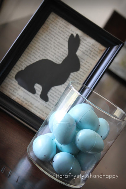 Bunny silouhette framed art