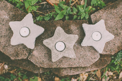 Star Votive Holders with Cement