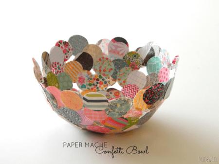 Cool paper mache confetti bowl home and garden for Cool paper mache