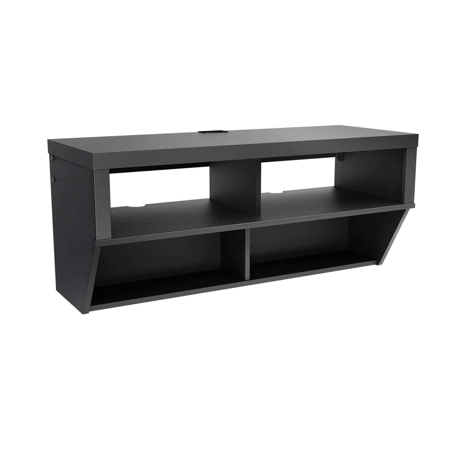 Hanging Media Console Black 42 Inch Wide Wall Mounted Entertainment Console