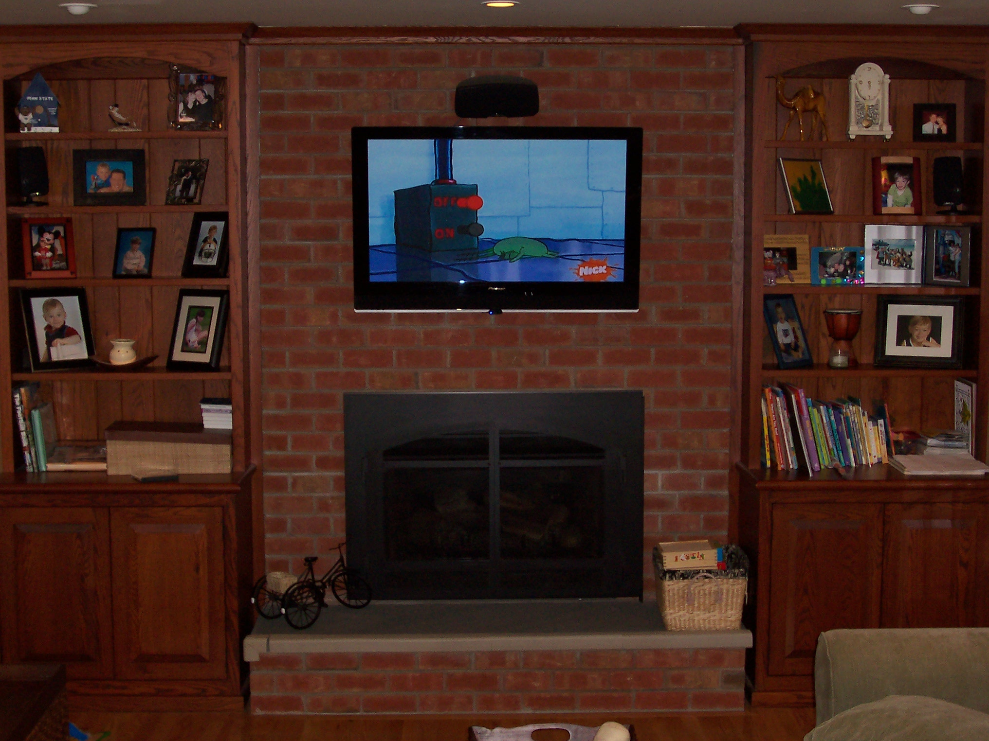 Tile A Kitchen Floor Under Cabinets Custom Oak Cabinets To Flank The Fireplace. We Also Added