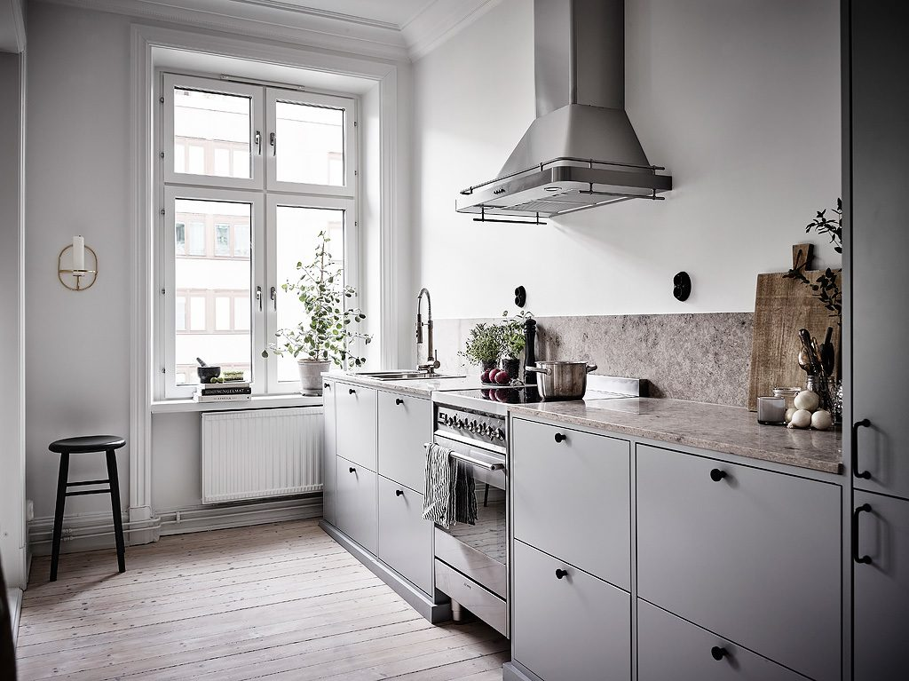 Tuinieren April Half Open Keuken In Een Klein Scandinavisch Appartement