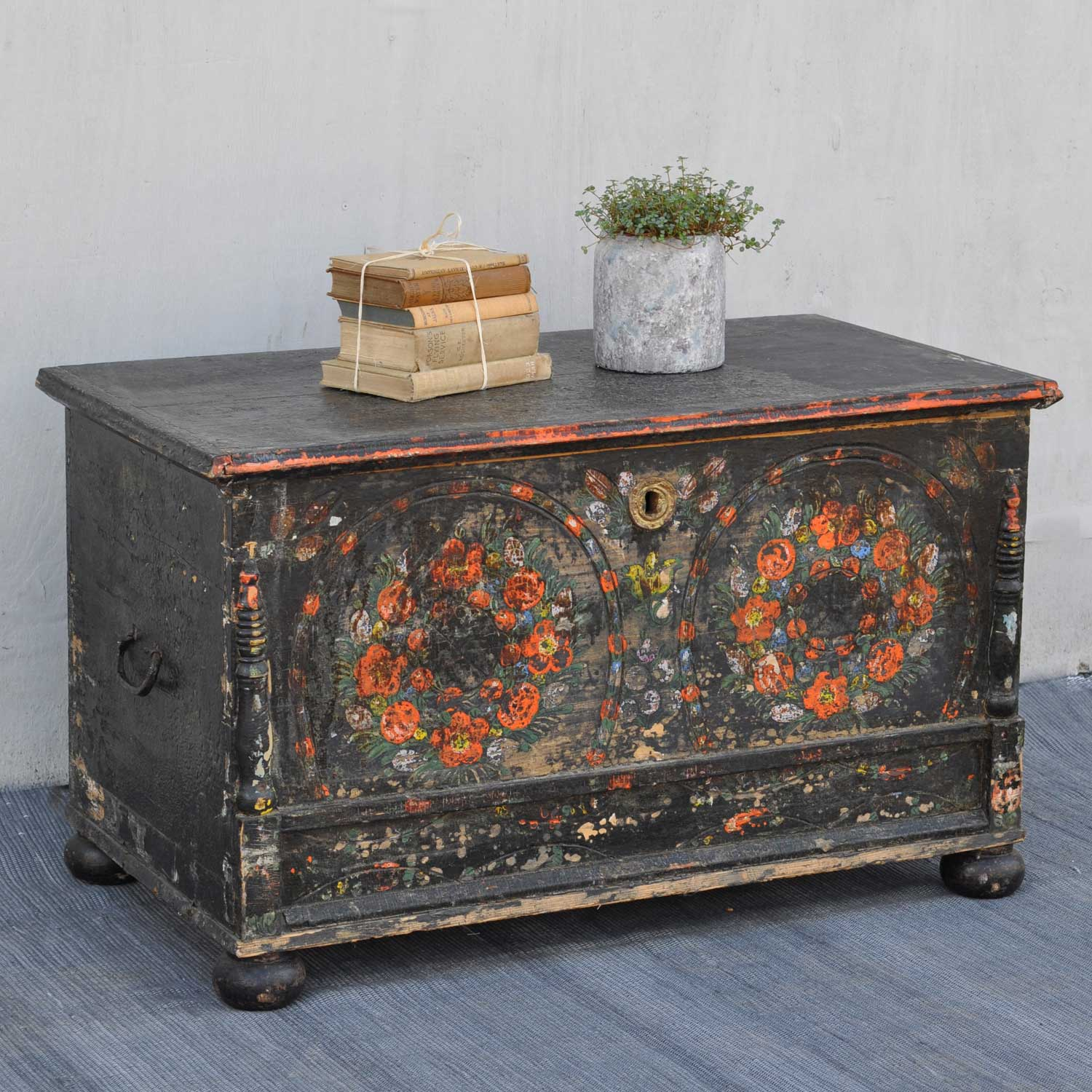 Swedish Folk Art Style Hand Painted Antique Blanket Box Chest Trunk