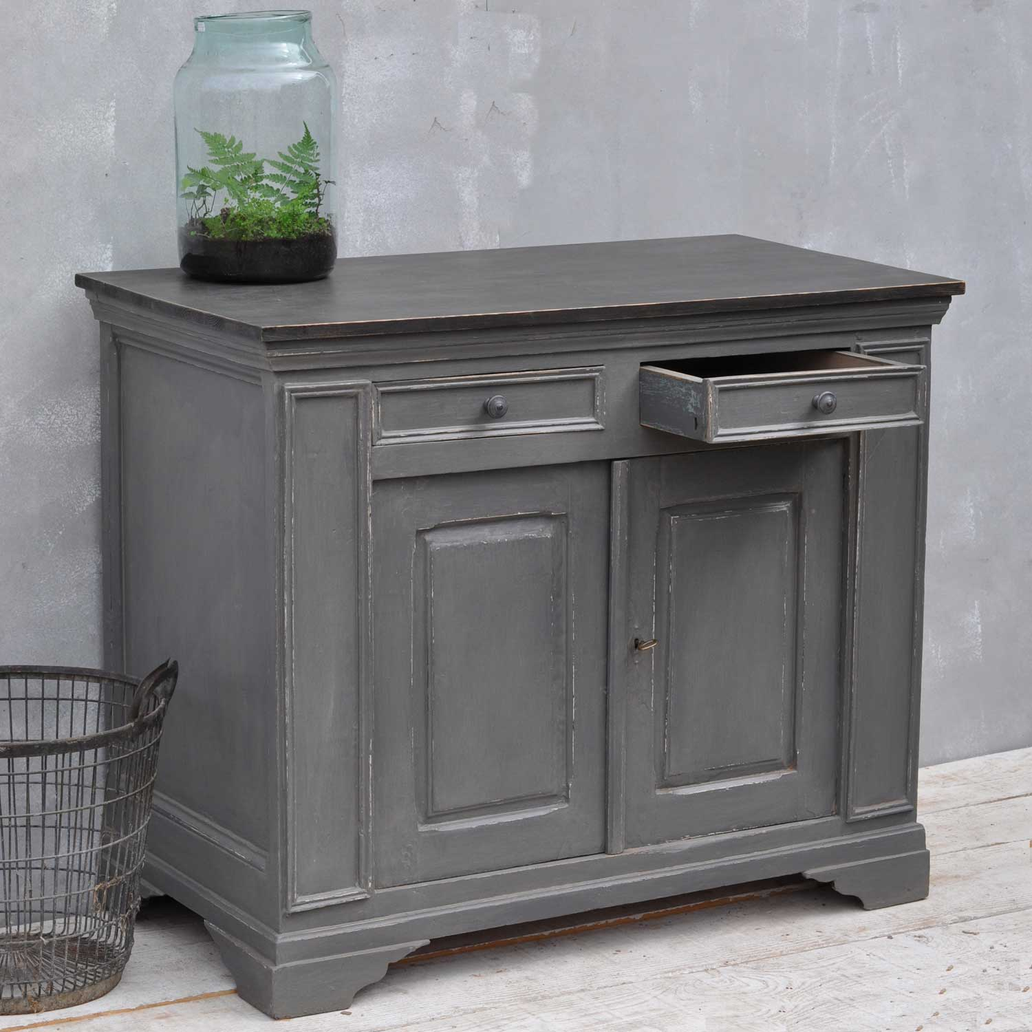 Black Coffee Table With Glass Top Vintage French Cupboard - Grey Hand Painted Cabinet - Home