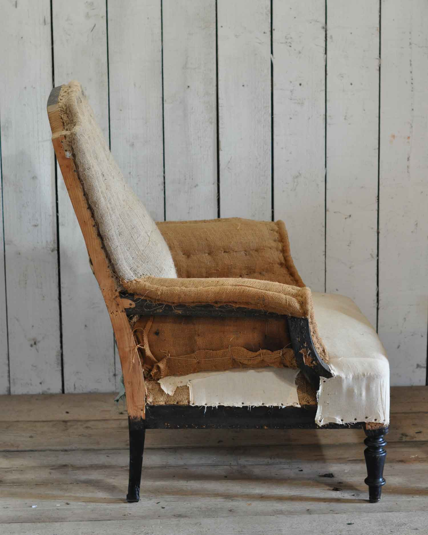 Antique Deconstructed Square French Fireside Chair Hessian And Cotton