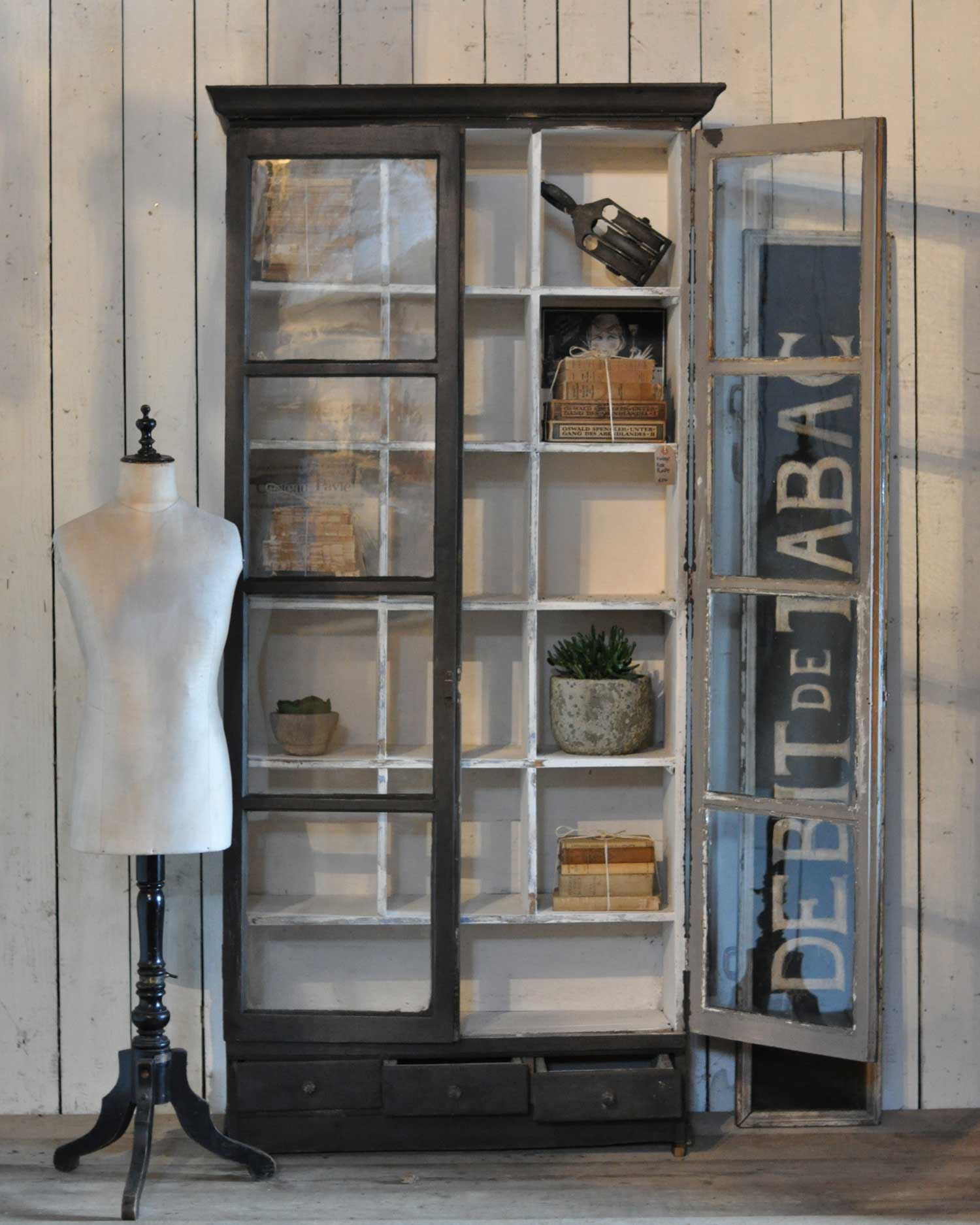 Vintage Vitrine Vintage Two Door Glazed Vitrine Display Cabinet