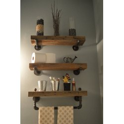 Gorgeous Heavy Plank Shelves Decor Ideas Industrial Hardware Rustic Bathroom Design 2018 Rustic Bathroom Wall Shelf