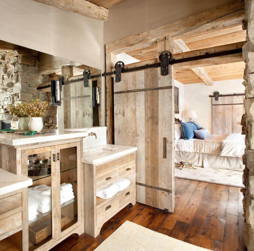 Sliding barn door for master bathroom