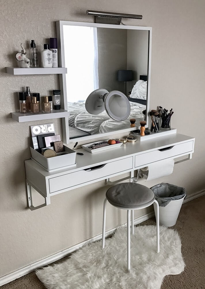 Black Alex Drawers 15 Stunning Makeup Vanity Decor Ideas - Style Motivation