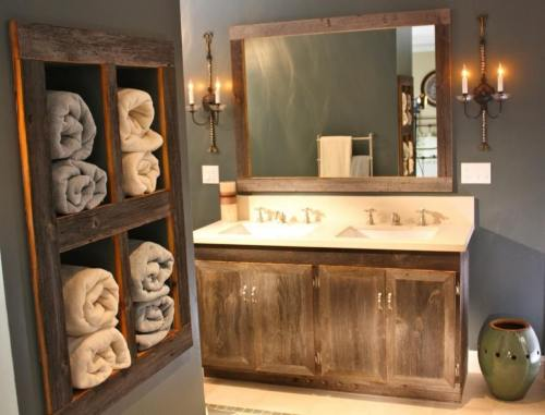 Gray Wood Vanity Towel Organizer Farmhouse Bathroom Design Decor Ideas 2018 Rustic Home Decor