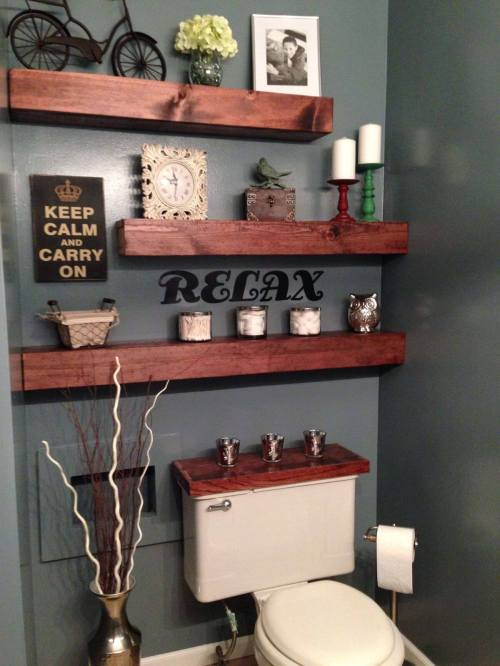 Medium Of Wood Shelves In Bathroom