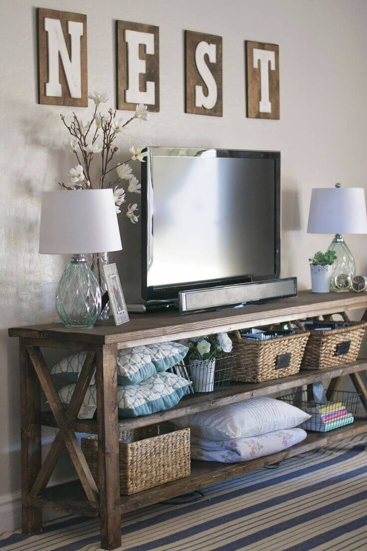 Stylized Tv Table Rustic Home Decor Ideas Designs 2018 Rustic Home Ideas Rustic Home Ideas You Can Make Yourself Nest Rattan home decor Rustic Home Ideas