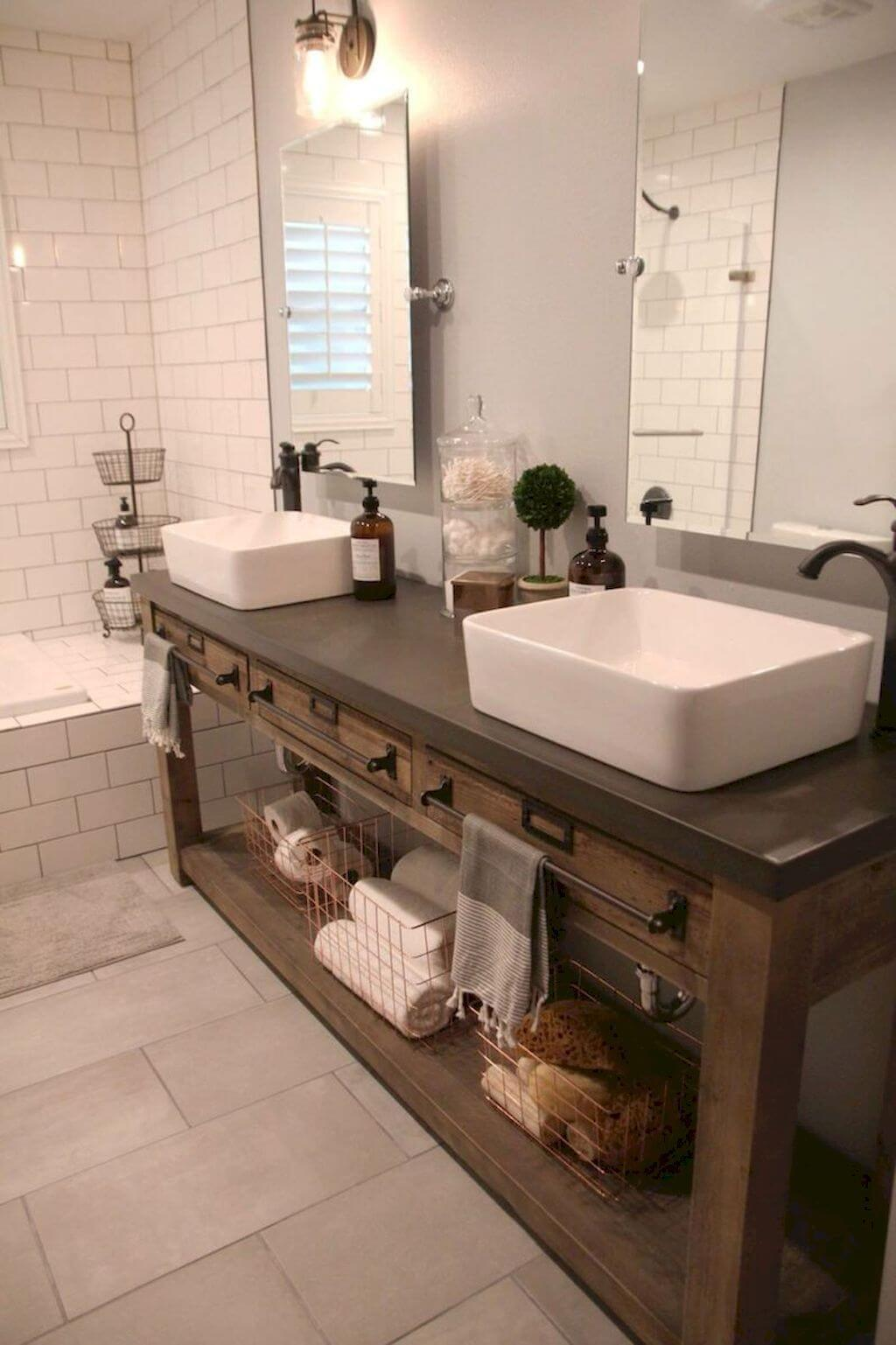 Bathroom Double Vanity Ideas 35 Best Rustic Bathroom Vanity Ideas And Designs For 2019