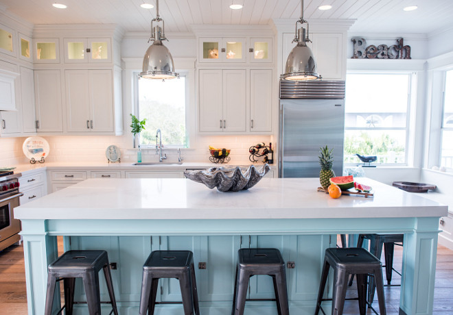 Paint Kitchen Cabinet Hardware Silver Coastal White Kitchen With Turquoise Island - Home Bunch