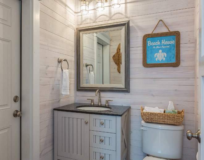 Whitewash Bathroom Vanity Beach Cottage With Whitewashed Plank Walls - Home Bunch
