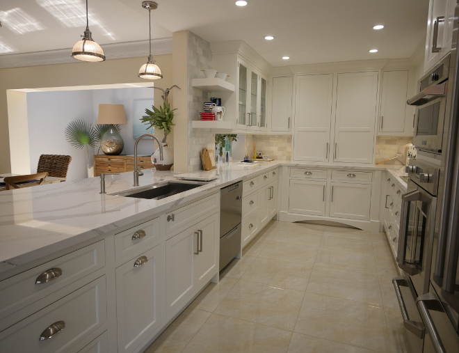 Shower Wall Tile White Kitchen With Driftwood Peninsula - Home Bunch