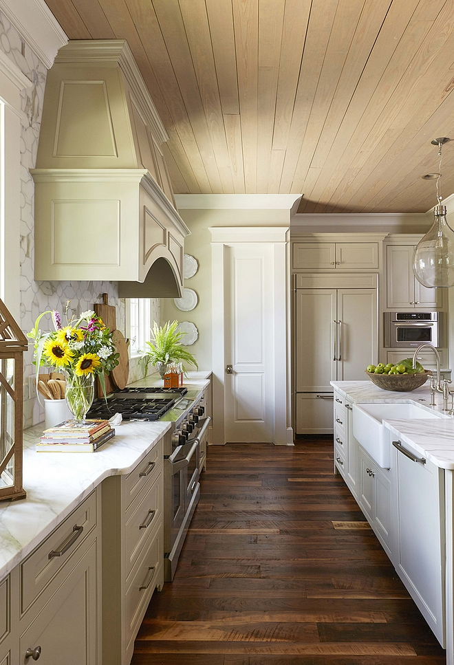 Gray Kitchen Island Brick And Stone French-country Home - Home Bunch Interior