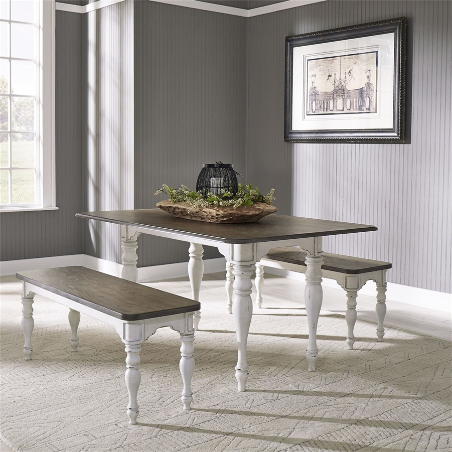 Magnolia Manor Nook Rectangular Table 3 Piece Dining Set In Antique White Finish By Liberty Furniture 244 Cd 3pcs